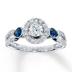 Trendy Diamond Rings : Kay Jewelers Diamond Sapphire Ring Round-cut 14K White Gold  Engagement Rings.j