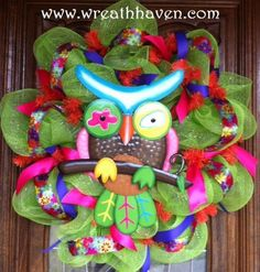 Whimsical Spring Owl Deco Mesh Wreath