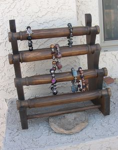 Jewelry display bracelet stand wooden store craft show. $40.00, via Etsy.