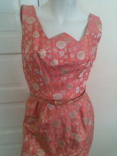 Sophie for Saks Fifth Avenue Pink Brocade Silk Sleeveless Shift Dress with Matching Belt by OffbeatThreads on Etsy