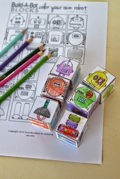 DIY Color Your Own Robot Blocks, DIY and Crafts, Dora from Plenty of Paprika sent in a link to this project she designed- DIY Mix & Match Color your own Robot Blocks for Kids! I think these are prett. Build A Robot, Diy Robot, Robot Crafts, Robot Art, Paper Crafts For Kids, Craft Activities For Kids, Robots For Kids, Art For Kids, Robot Theme