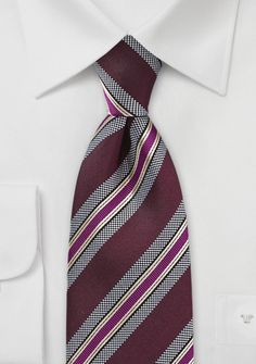 Modern Silk Tie in Purple & Pink - A truly stunning striped tie out of Parsley's new color collection. This tie combines the trendy colors pink, wine-red, and purple into a modern striped design. Burgundy Tie, Shades Of Burgundy, Magenta, Green Fall Weddings, Mens Wedding Ties, Pink Bow Tie, Preppy Look, Trendy Colors, Stripes Design