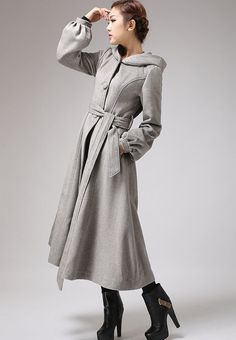 Gray wool coat womens swing coat long coat for by xiaolizi Sunday Clothes, Mode Mantel, Long Winter Coats, Langer Mantel, Swing Coats, Cashmere Coat, Fashion Now, Belted Coat, Vintage Coat