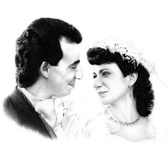 Hand-drawn pencil portrait drawings of weddings from photographs   MCB Pencil Portraits