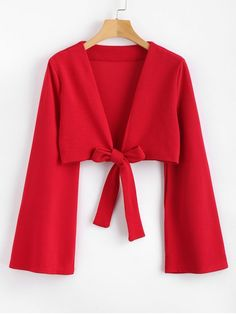 a10d2d6fd22 Shop for Tie Front Bell Sleeve Plunge Crop Top LOVE RED: Blouses L at ZAFUL