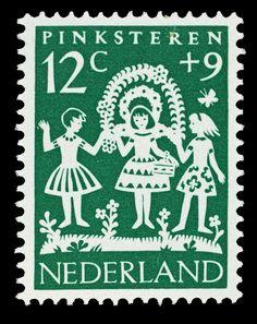 1961 | Hil Bottema | groen | Pinksteren, meisjes