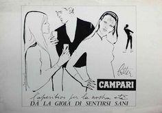 Campari, l'aperitivo per la nostra età ... Dà la gioia di sentirsi sani - Franz Marangolo , 1960