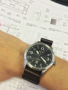 Flyboy with brown leather nato strap.