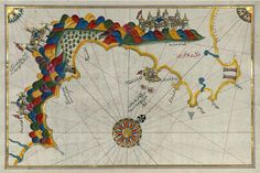 The Maps of Piri Reis - Map of the Calabrian Coast From Catanzaro to Siquillace