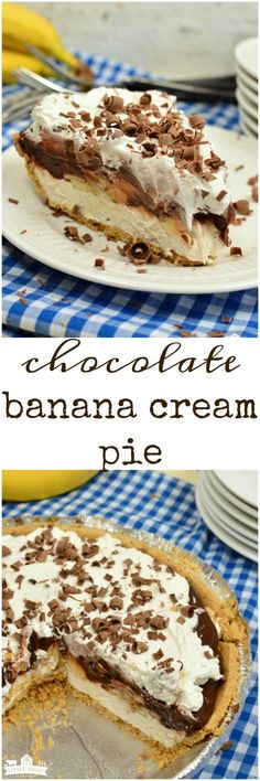 Easy Chocolate Banana Cream Pie is a super luscious no bake dessert that only takes minutes to throw together! #easyrecipe www.littledairyontheprairie.com