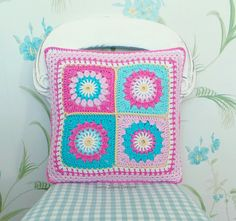 NEW! CROCHET PATTERN! PATTERN ONLY (not the actual item)  The Starry sun pillow pattern - cute, colorful and reversible!!! A fun crochet