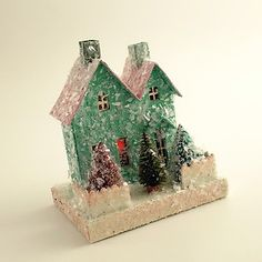 Image detail for -Mica Putz House Trees Vintage Style Christmas Village | eBay