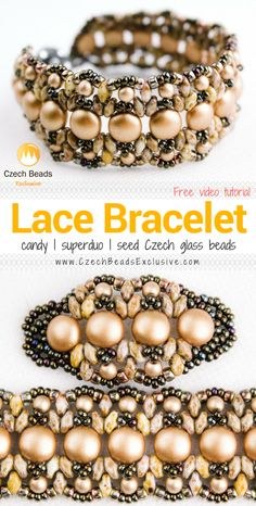 Candy, SuperDuo and Seed Czech Glass Beads - LACY BRACELET Pattern Free Video Tutorial |SAVE it!| www.CzechBeadsExclusive.com #czechbeadsexcluisve #czechbeads