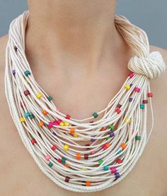 Rainbow summer necklace Knot fiber bib jewelry Small multicolor wooden beads White cord necklace Neck accessory Sister boho gift - Multicolor summer necklace Multicolor wood bead Summer knot necklace Statement necklace Colorful be - Bold Necklace, Summer Necklace, Knot Necklace, Tribal Necklace, Beaded Necklace, Necklace Ideas, Leather Necklace, Collar Necklace, Fashion Necklace