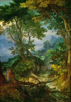 Mountain Landscape with the Temptation of Christ // ca. // Jan Brueghel the Elder // Kunsthistorisches Museum Mountain Landscape, Landscape Art, Landscape Paintings, Watercolor Paintings, Kunsthistorisches Museum Wien, Pieter Bruegel, Classic Theme, Modern Classic, Tapestry Wall Hanging