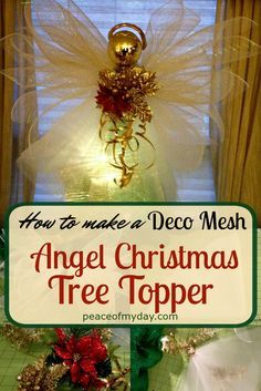 How to make a Deco Mesh Angel Christmas Tree Topper with this tutorial at PeaceOfMyDay.com.