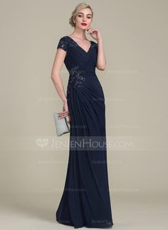 A-Line/Princess V-neck Floor-Length Beading Zipper Up at Side Sleeves Short Sleeves No Dark Navy General Plus Jersey Height:5.7ft Bust:33in Waist:24in Hips:34in US 2 / UK 6 / EU 32 Mother of the Bride Dress