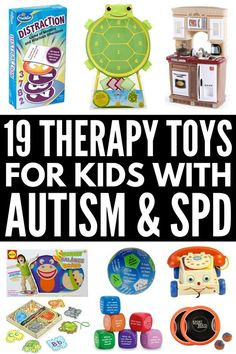 19 therapy toys for kids with autism and sensory processing disorder that help develop gross and fine motor skills, language, and cognitive skills. Cerebral Palsy Activities, Autism Activities, Therapy Activities, Therapy Ideas, Speech Therapy Autism, Speech Language Therapy, Speech And Language, Pediatric Occupational Therapy, Speech Therapy