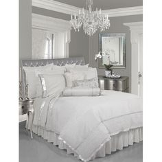 Silver & White Bedroom-- throwing out all of our comforters and going with a clean, elegant look