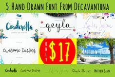 5 Beautiful Hand-Drawn Fonts from Decavantona - only $12!