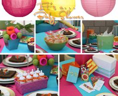 Bright colored baby shower