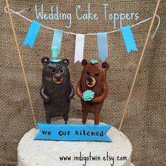 Brown Bears cake topper ONLY for your Rustic Woodland Country Wedding by indigotwin on Etsy