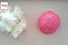 LACE SUN HAT knitted for babies - bright pink color - 100% cotton - Ready to ship