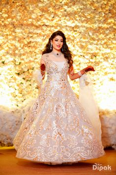 Looking for White and gold cocktail dress for sangeet? Browse of latest bridal photos, lehenga & jewelry designs, decor ideas, etc. on WedMeGood Gallery. Indian Wedding Gowns, White Wedding Gowns, Indian Gowns, Indian Bridal, Wedding Bride, Dress Wedding, Indian Wear, Gold Cocktail Dress, Cocktail Outfit