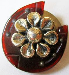 Bakelite Horseshoe Button Steel Back & Flower Escutcheon.