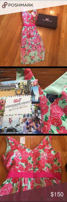 NWT Kentucky Derby Vinyard Vines dress NWT vineyard vines dress, size 0, so beautiful bought on posh but it's too big on me! Paid $132 for it so price reflects that. Accepting reasonable offers 😀 Vineyard Vines Dresses
