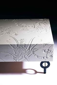 etched concrete bench  Axolotl light weight concrete