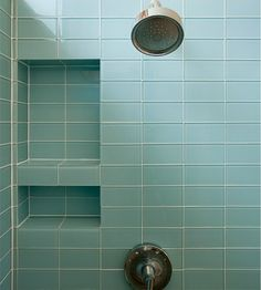 Modwalls Lush Vapor Pale Blue 3x6 Glass Subway Tile Shower by modwalls.com. www.modwalls.com.  Buy online. Samples available. Discounts to the trade.