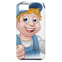Electrician Handyman Cartoon Character iPhone SE/5/5s Case