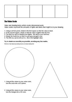 Art Vocabulary Worksheets | art - Value worksheets