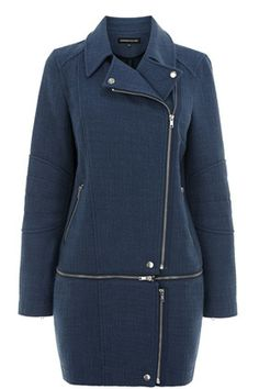 Tweed zip off biker coat