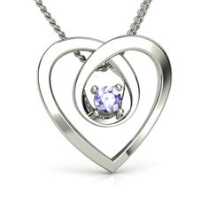 Sterling Silver Necklace with Tanzanite - Infinite Heart Pendant | Gemvara