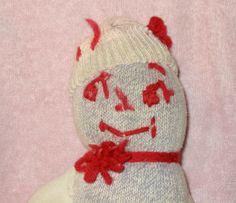Vintage Handmade OOAK Sock Monkey Type Cloth Doll w Red Yarn Stocking Hat | eBay