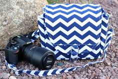 Large Digital Camera Bag  in Navy Chevron and by Justgetpampered, $54.99