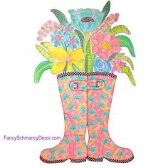 Happy Rubber Boots Coral with Flowers Stake by The Round Top Collection S8015