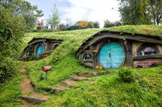 "Hobbiton Movie Set, Matamata, New Zealand — by Earth Trekkers. This is the coolest, cutest place to visit in New Zealand. Take a tour of Hobbiton, the movie set for ""the Shire"" in. Amazing Places On Earth, Beautiful Places In The World, Beautiful Places To Visit, Places Around The World, Cool Places To Visit, Places To Go, Around The Worlds, Tolkien, Loire Valley"