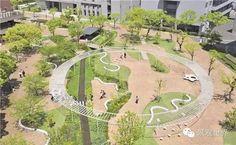 Idea Kyushu Sangyo University Landscape Design by Design Network Associates in Fukuoka, Japan Japan Landscape, Landscape And Urbanism, Landscape Design Plans, Park Landscape, Landscape Architecture Design, Space Architecture, Landscape Architects, Design Plaza, Playground Design