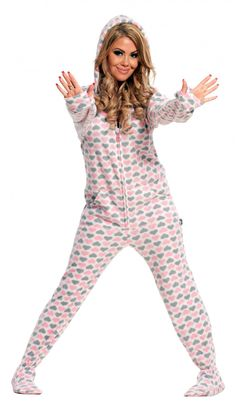 hooded/footie pajamas with a drop seat...yes please! :-)