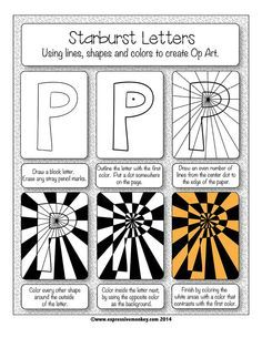 Op Art using Positive and Negative Shapes. Explore the possibilities with this Op Art kit. Letter- sub lesson