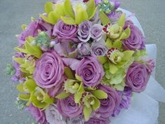 Ceremony, Reception, Flowers & Decor, Bridesmaids, Bridesmaids Dresses, Fashion, purple, green, Ceremony Flowers, Bridesmaid Bouquets, Flowers, Empora floral artistry, Bridal bouquet lavendar roses, green cymbidiums orchids, Flower Wedding Dresses