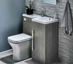 Ideas for Small Bathrooms Harbour Icon Spacesaving Combination Bathroom Toilet & Sink Vanity Unit - Avola Grey you can find similar pins below. Toilet And Sink Unit, Bathroom Sink Units, Sink Vanity Unit, Toilet Sink, Bathroom Toilets, Bathroom Layout, Bathroom Interior, Modern Bathroom, Bathroom Pink
