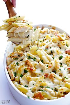 Chicken Alfredo Baked Ziti by gimmesomeoven: Simple to make, affordable, delicious and picky-eater friendly.
