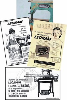 anos 50 - Antigo Brinquedo Mini Máquina de Costura LEONAM