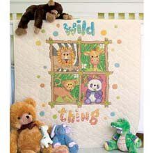 $29.12-$36.99 Baby Dimensions Needlecrafts Stamped Cross Stitch, Wild Thing Quilt - Join our jungle safari with this adorable baby quilt. Our cute quartet of animals will make a wonderful addition to a nursery. Our kit includes a prefinished poly/muslin quilt printed in wash-away ink, cotton thread, and easy instructions. Finished size: 34 by 43 inches http://www.amazon.com/dp/B001DEHT88/?tag=pin2baby-20