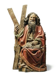 South German or Austrian, late 15th century SAINT ANDREW polychrome wood height 30in.; 76.3cm.