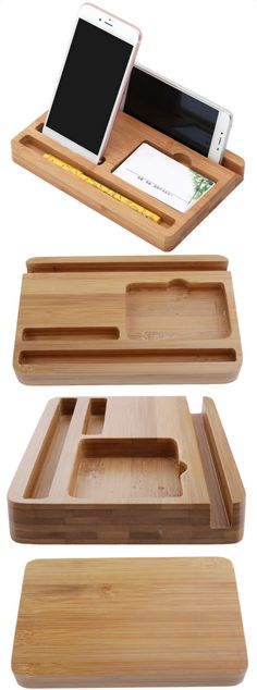 Wooden Stationery Office Desk Organizer Pen Pencil Holder iPad Cell Phone Station Charging Station H